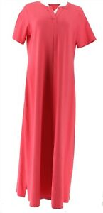 Denim & Co Essentials Split V-Neck Knit Maxi Dress Warm Rose S NEW A304431