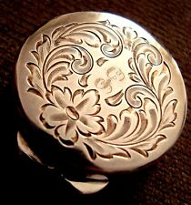 ANTIQUE STERLING SILVER GILDED INSIDE  PILL BOX WITH ENGRAVED FLORAL DECORATIONS