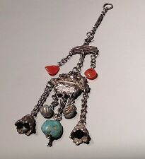 ANTIQUE CHINESE Silver Pendant With Gemstones of Turquoise and Carnelian