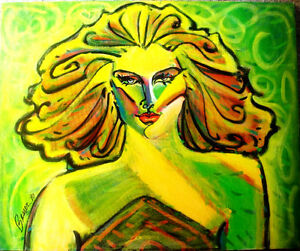 """ROY BESSER - Signed 1990 OIL on CANVAS PAINTING Blond Hair Lady PORTRAIT 20""""x24"""""""