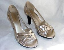 CHAPS SEXY STRAPPY HEELS, Gold Open Toe High Heels, Echo Stilettos 7.5B