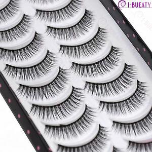 10 Pairs Natural Makeup False Eyelashes Handmade Black Long Thick Eye Lashes 035