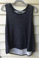 SUSSANS NWT $89 Size L 14 Navy Blue Knit Top Vest Cotton Blend Hi Lo Hem Womens