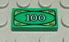 Lego Fliese - Kachel 1x2 bedruckt Grün mit Geldschein Banknote 2 Stück  (326 BB)