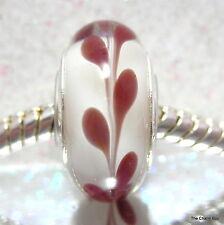 """Berry Laurel 'BIANCO/Maroon Rosso piante Murano Glass European Charm-Single core"