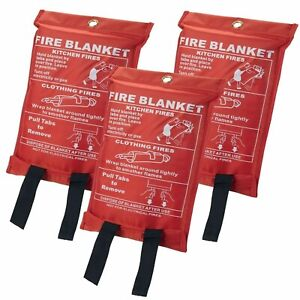 1x Large Fire Blanket 1mx1m Safety Quick Release Home Kitchen Office Caravan