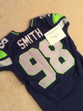 Seattle Seahawks Garrison Smith. Game Used Team Issued Blue Home Nike Jersey Dt
