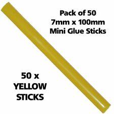 50 YELLOW Colour 7mm 100mm Long Hot Melt Glue Gun Sticks Adhesive Hobby Craft