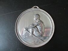 ANTIQUE 1930's SILVER PLATED ROWING PLAQUE SINGLE SCULL