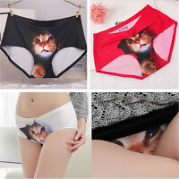 Pussycat Seamless Panties Anti Emptied Cat Printing Briefs Knickers Underpant +