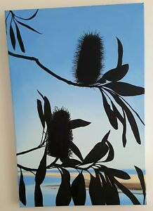 Stunning Silhouetted Banksias Oil Painting Orignial Art (Hand-painted)