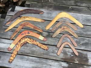 Collection Of 10 Vintage Mixed Aboriginal Australian Wooden Boomerangs