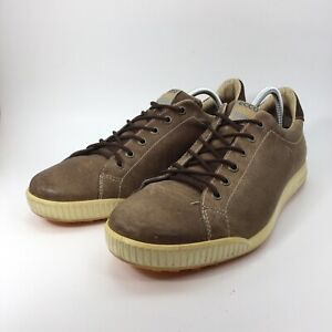 Ecco Mens Brown Leather Spikeless Golf Shoes Orange TPU Sole Sz EUR 45 US 11.5