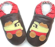 minishoezoo soft sole leather boy shoes Track brown 4-5 years free shipping