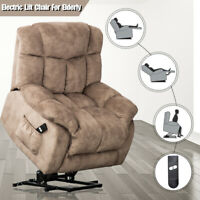 Overstuffed Electric Lift Recliner Chair for Elderly Heavy Duty Frame Sofa w/RC