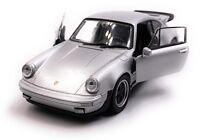 Porsche 911 Turbo 930 Sportwagen Modellauto Silber Maßstab 1:34 (lizensiert)