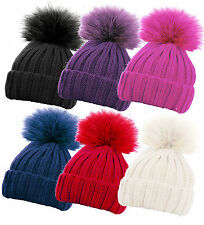 Childrens Boys Girls Ribbed Chunky Knitted Beanie Bobble Hat With Fur Pom Pom