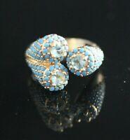 925 Sterling Silver Handmade Gemstone Turkish Aqua Marine Ladies Ring Size Adj