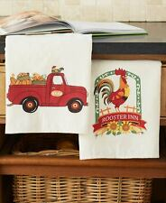 2 French Country Barn Rooster Kitchen Towels Farmhouse Sunflower Pumpkin Towels
