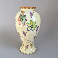 "Art Deco Losol Ware Keeling & Co Hand Painted 8"" Vase Flowers 1920s 1930s"