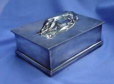 1930 silver plt WHIPPET ITALIAN GREYHOUND cigarette box CHRISTOFLE dog BARBOUR