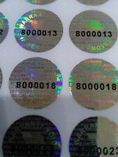 1000 ROUND Pair serial 14 MM TAMPER EVIDENT SECURITY VOID HOLOGRAM LABELS SEALS