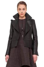 Akris Black Stamped Nappa Leather Tailcoat Jacket Size 10 $4,990