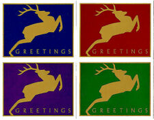 4 New LEAPING DEER GREETINGS 20¢ Post Cards Jumping Reindeer Postcards Gold Stag