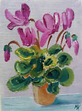 ACEO Cyclamen Flower in vase Original Oil painting Art 2.5x3.5in by artist MK