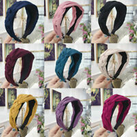 Women Tie Wide Hoop Bow Knot Hair Band Headwear Twist Hairband Cross Headband