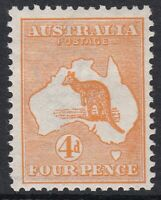 K1139A) Australia 1913 4d Orange  Kangaroo first watermark BW 15