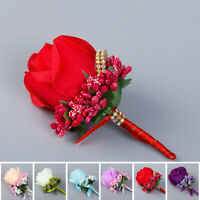 Bride Groom Corsage Wedding Wrist Fake Silk included Pin Flower Party Decor Rose