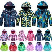 Kids Boys Girls Hoodie Wind Waterproof Jacket Coat Outdoor Ski Snow Windbreaker