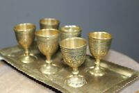 Vintage brass hand engraved tray & six goblets wine sherry egg cups black inlay