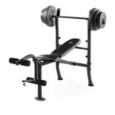 Home Gym Workout Lifting Equipment Combo Weight Bench & 100 Lb. Vinyl Weight Set