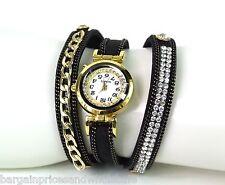 Reloj de Pulsera capa De Las Señoras Cadena Diamante Oro Negro Brazalete Envolvente de diamantes de imitación imitación
