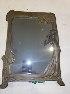 Vintage Mirror Lady By The lake Art Nouveau Solid Frame
