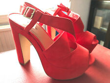 ❤️Sexy NEW LOOK Red Faux Suede Strap Platform Block High Heels UK7 EU40 Stripper