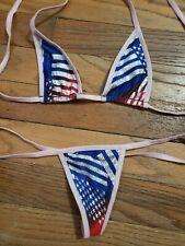 Red White Blue Micro Bikini Exotic Dancer Stripper