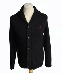 POLO RALPH LAUREN MENS SIZE M 100% LAMBSWOOL BUTTON FRONT SHAWL COLLAR CARDIGAN