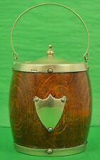 English Wooden Ice Bucket w Porcelain Lining & Sterling Crest & Rim