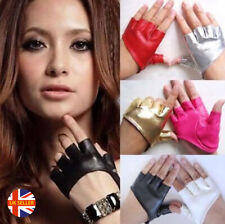 Womens Sexy Black Red Half Palm Short Faux Leather Bike Fingerless Gloves
