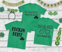 His Hers St Patricks Day Tshirts Green Black Feckin Eejit Leprechauns Guinness
