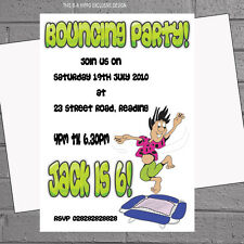 Garçons Trampoline Rebondissant Fun Kids Birthday Party Invitations X 12 H0791