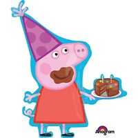 "33"" Peppa Pig Birthday Cake Jumbo Mylar Foil Balloon Party Decorating Supplies"