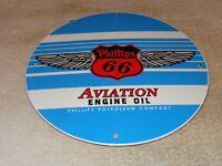VINTAGE PHILLIPS 66 AVIATION ENGINE OIL PORCELAIN METAL GASOLINE SIGN PUMP PLATE