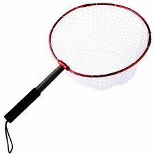 Retractable Fishing Brail Net Red Soft Rubber Fly Landing Dip Nets Fish Gear New