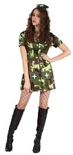 Women's Army Soldier Costume Ladies Camo Military Uniform Fancy Dress Outfit