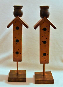 Set of 2 Candlesticks . Bird Feeder / House Wood Tapered Candle Holders