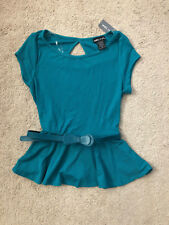 Teal Blue Bow Belt Keyhole Short Sleeve Ribbed Stretch Peplum Top Tee T Shirt S